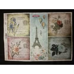 Rizspapír virágos Párizs